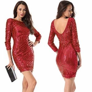 Red Sequin Glitter Bodycon Cocktail Party Dress